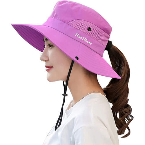 Quick-Dry Material Packable Hat with Snap Buttons
