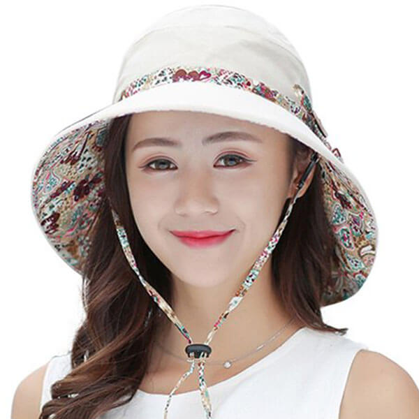 Printed Floral Pattern Hat with Wide Brim