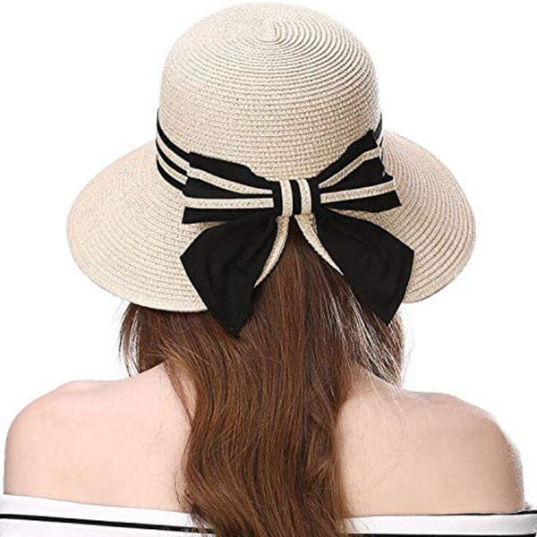 White Color Big Bowknot Summer Hat