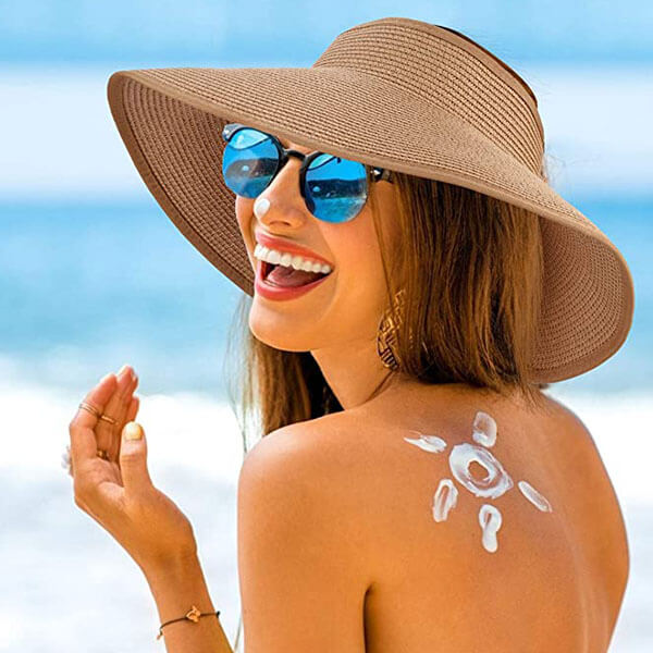 Topless Straw Beach Hat for women