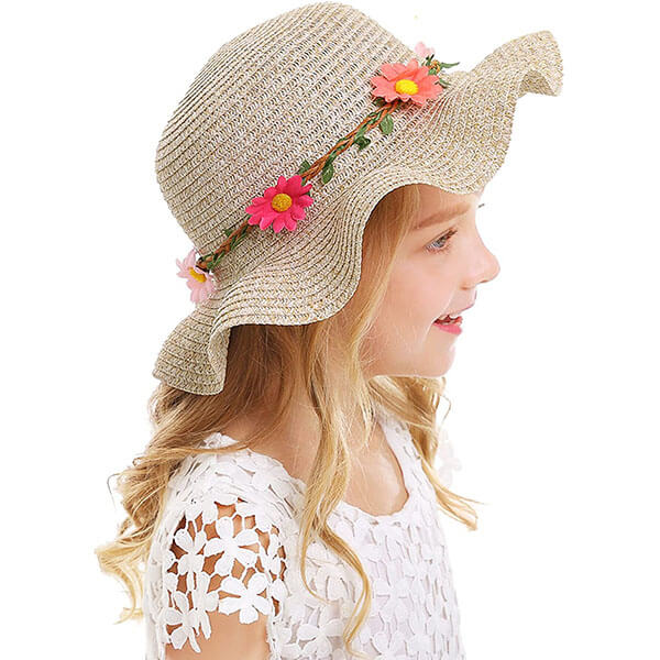 Kids' Sun Straw Hat With Large Wide Brim
