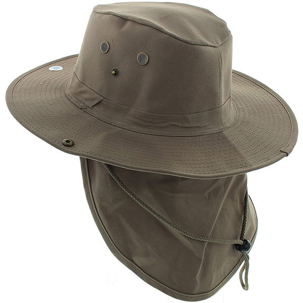 Wide Brim Sun Hat With Neck Flap For Men
