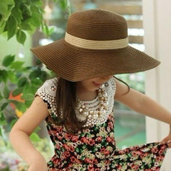 Adorable Kids' Straw Sun Hat With Wide Brim