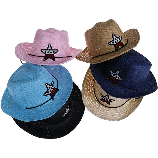 Cowboy Style Straw Sun Hat For Kids'