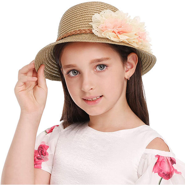 Flanging Kids' Straw Hat With Flowers
