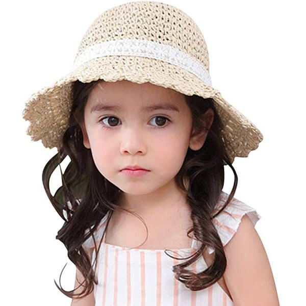 Kid's Floppy Straw Sun Hat With Bowknot