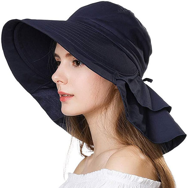 Women's Cotton Sun Hat With Neck Cover