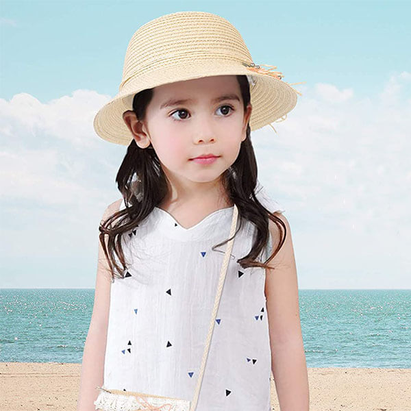 Woven Kids' Straw Sun Hat With Pocket