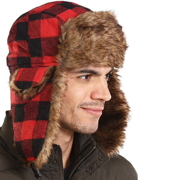 Weatherproof Plaid Trapper hat for Winter