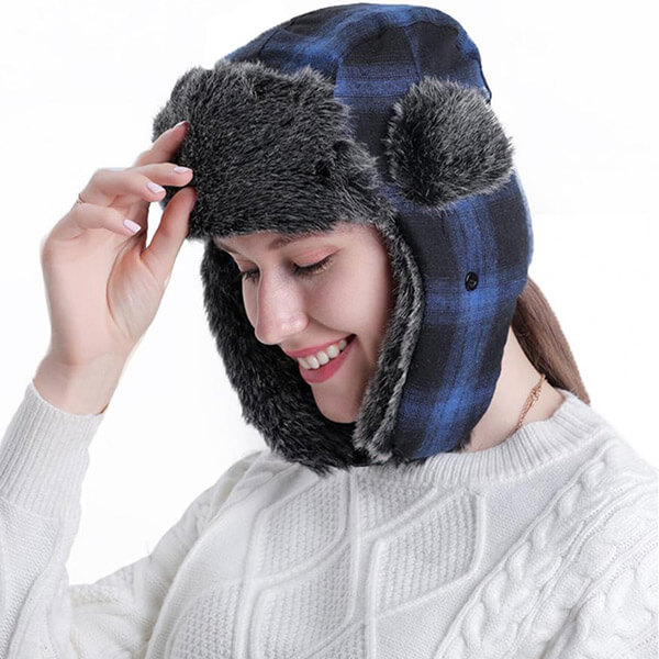 Acrylic Plaid Trapper Hat For Winter