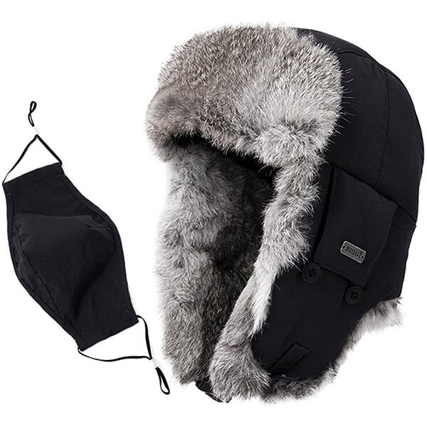 100% rabbit fur windproof trapper hat with mask