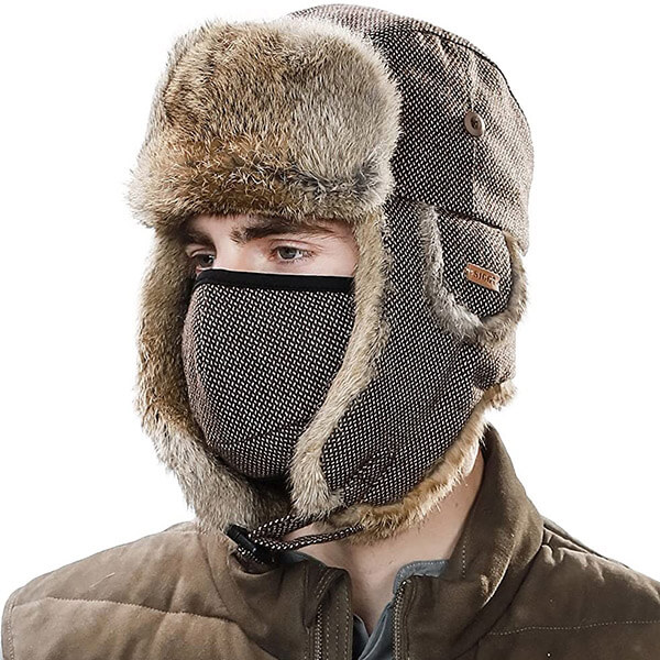 100% rabbit fur-lined trapper hat with cotton face mask