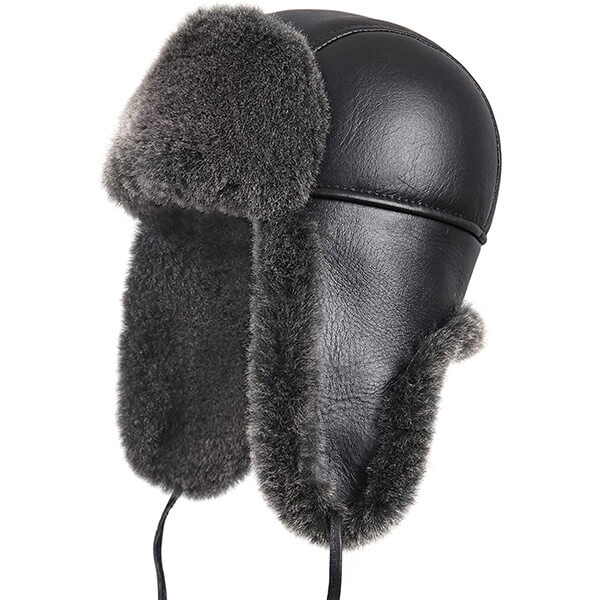 Sturdily designed shearling trapper hat for everyone