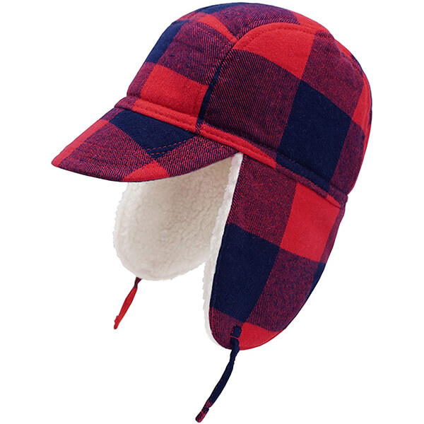 Tartan red plaid trapper hat for your boy