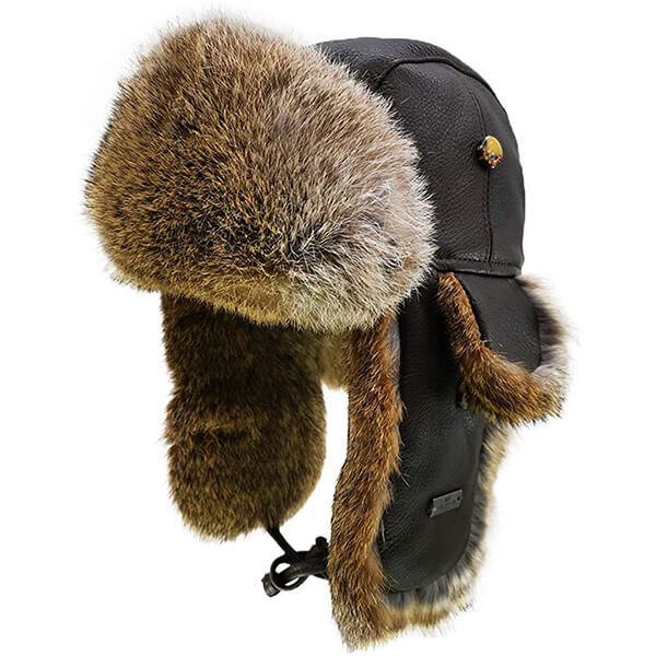 Bull leather rabbit fur trapper for adults