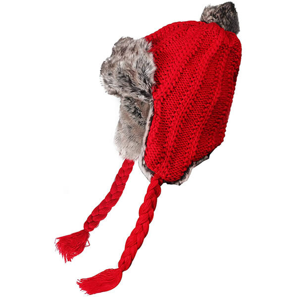 Knit red trapper hat