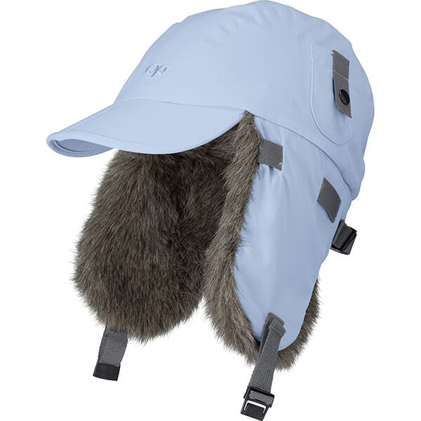 Furry look trapper hat with a long visor