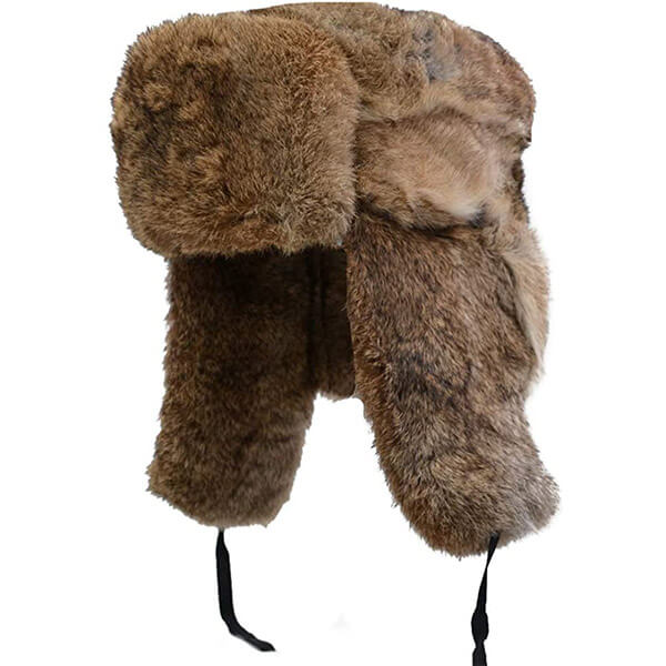 No Sweat real fur trapper hat for adults