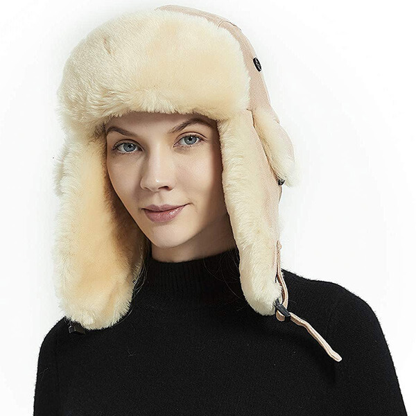 Alluring nut colored trapper hat for winter