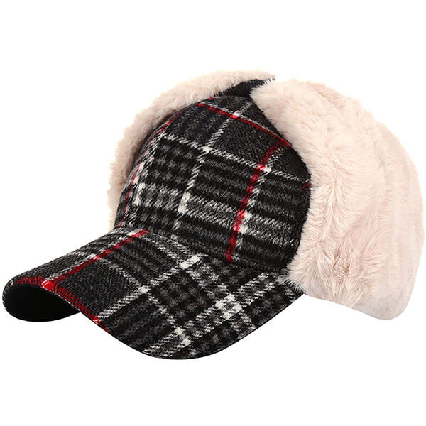 Timeless style plaid trapper hat with a visor