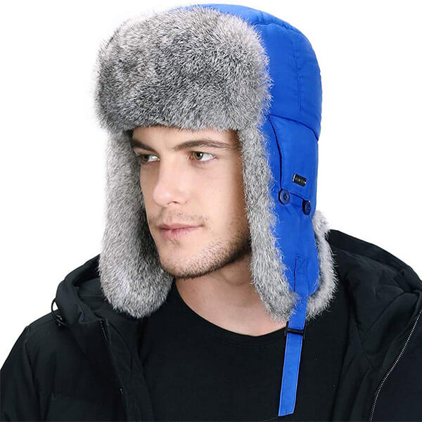Slate blue fur trapper with the mask