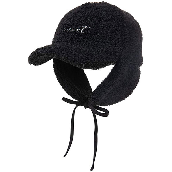 Black trapper hat with brim and bill for kids