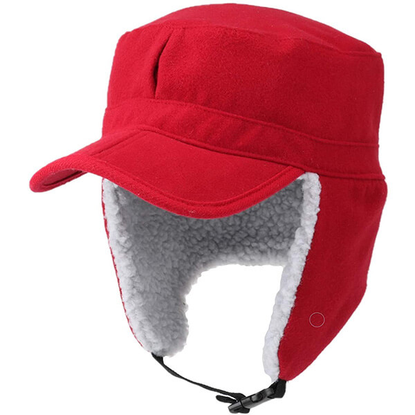 Red trapper hat with brim and bill