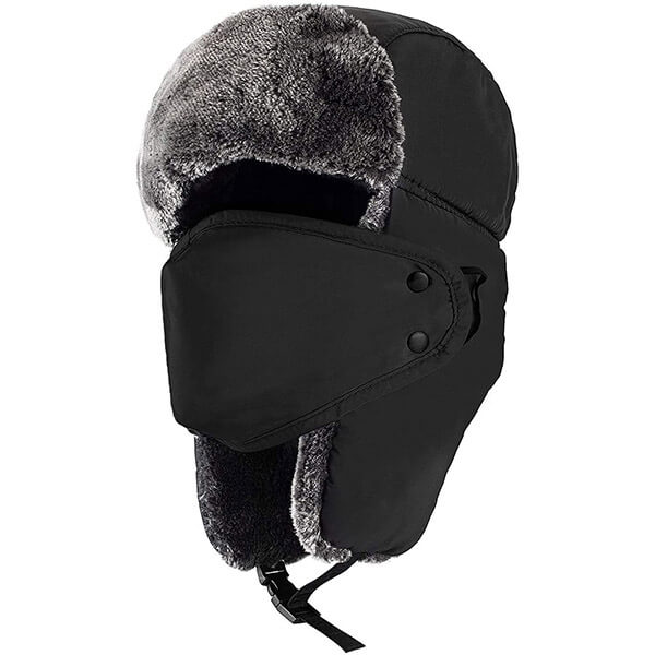 Black trapper hat with mask