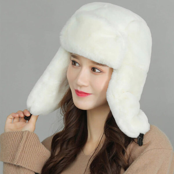 Milky white trapper hat especially for you