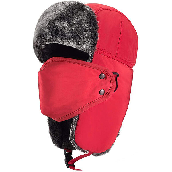 Red trapper hat with mask