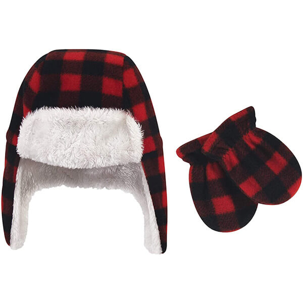 Plaid baby boys trapper hat with mittens