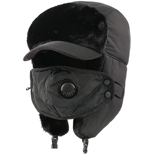 Trapper hat with thick visor valve and mask