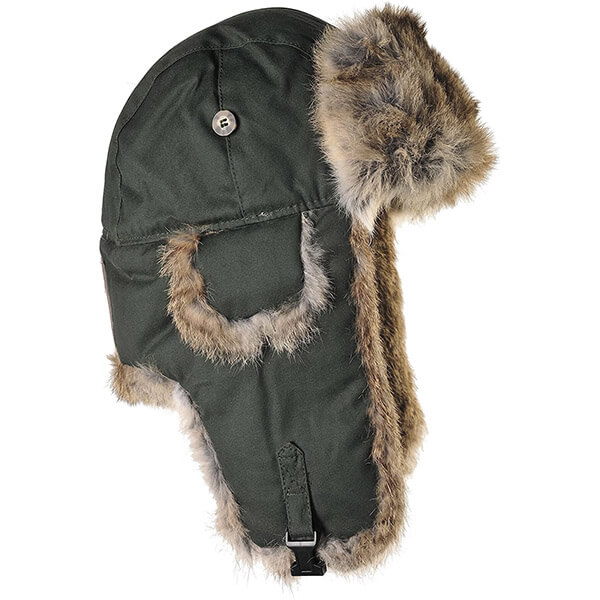 Moss green with brown rabbit fur trapper hat