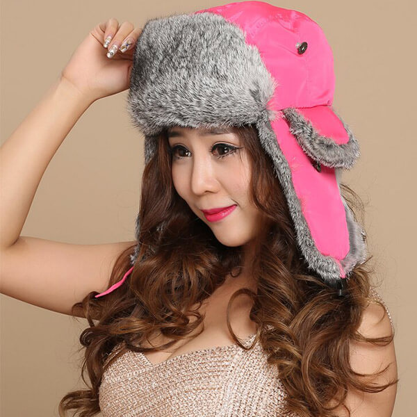 Hot pink trapper hat for colleens