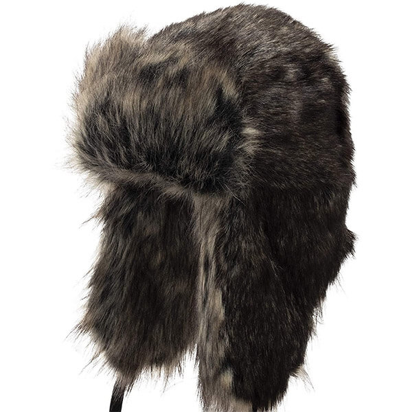 Fuzzy faux fur trapper hat for adults