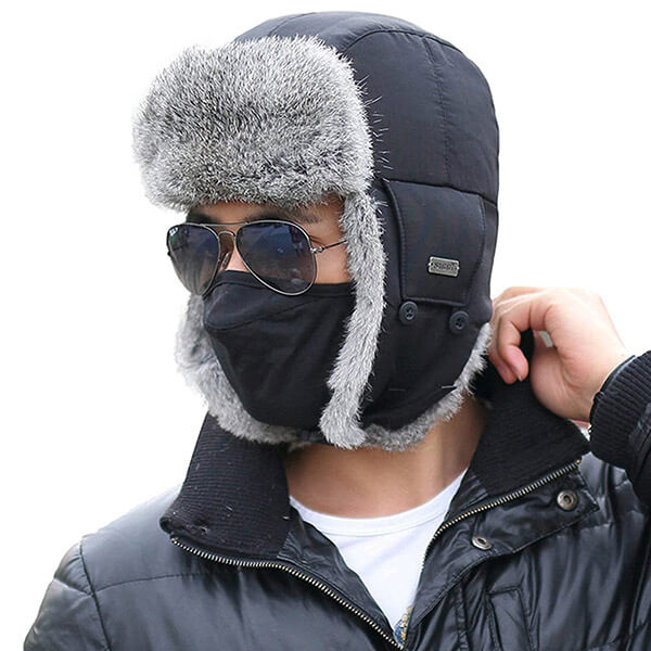 Nylon polyester lined rabbit fur trapper with the mask