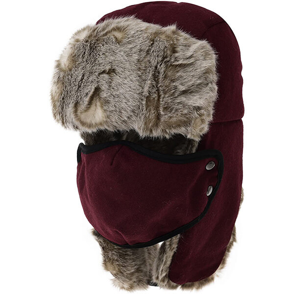 Wool-like red trapper hat