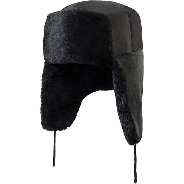 Pitch black classic breathable trapper hat