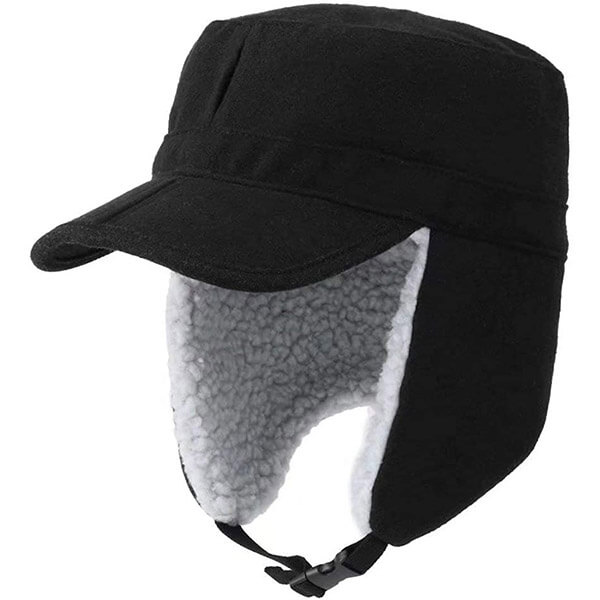 Woolen knitted trapper with wide foldable visor