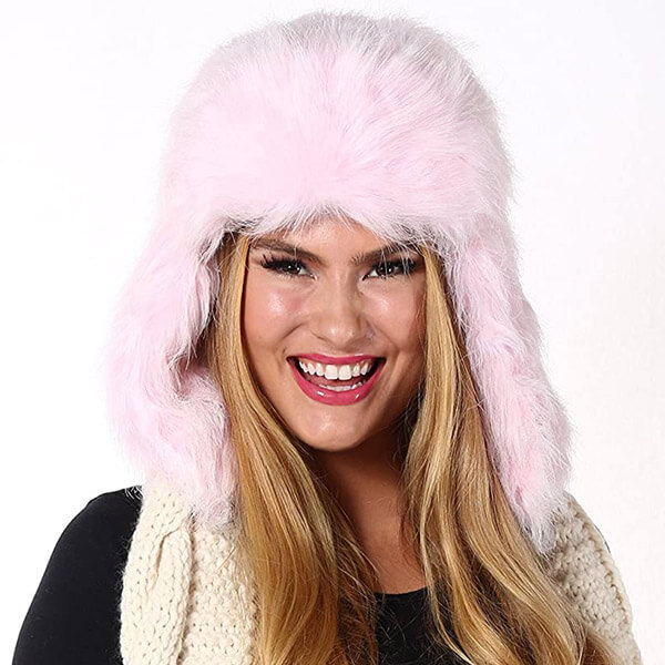 Baby pink comforting trapper hat for girls