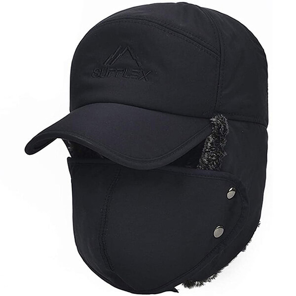 Black trapper polyester hat for daily use