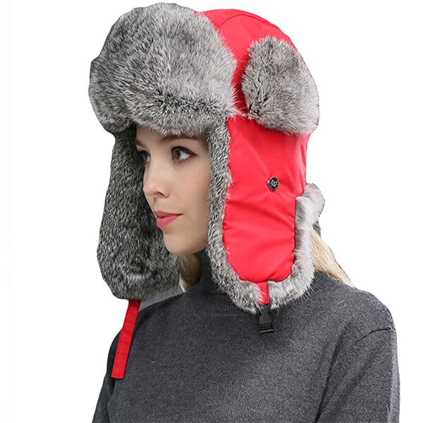 Red trapper hat for women