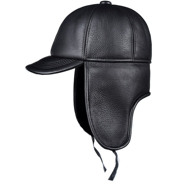 A leather sheepskin trapper hat with a unique visor