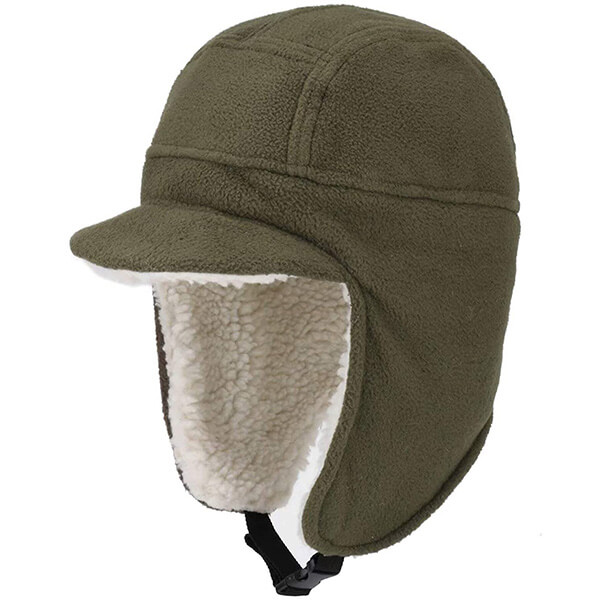 Solid colored trapper hat for motorcyclists