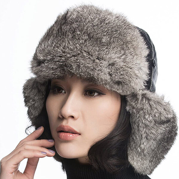 100% Genuine leather rabbit fur trapper for everyone