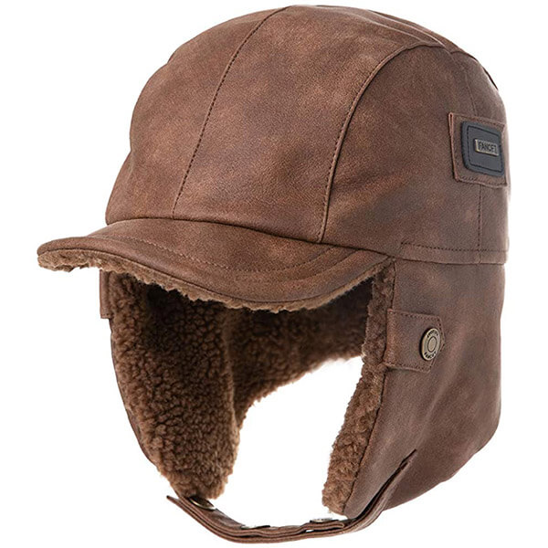 Coffee colored long visor trapper for everyone