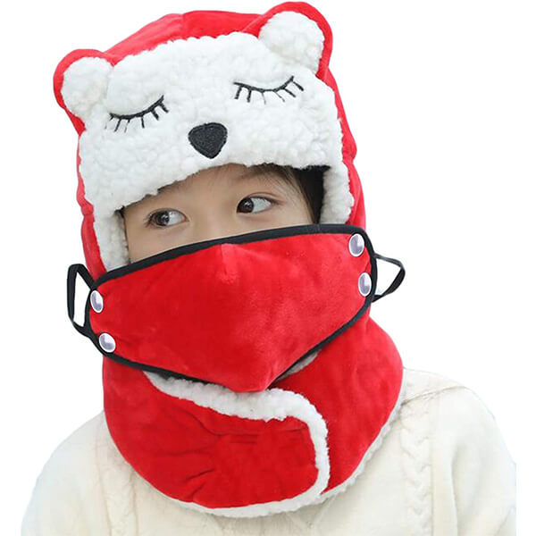 Red trapper hat for kids