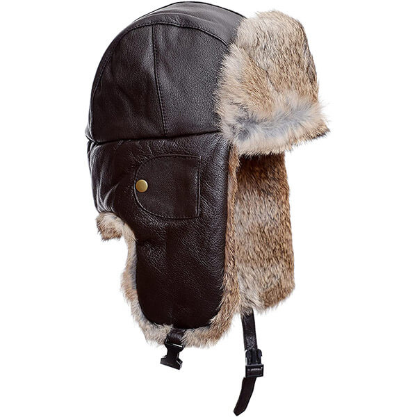 Standard gingerbread brown real fur trapper hat for adults