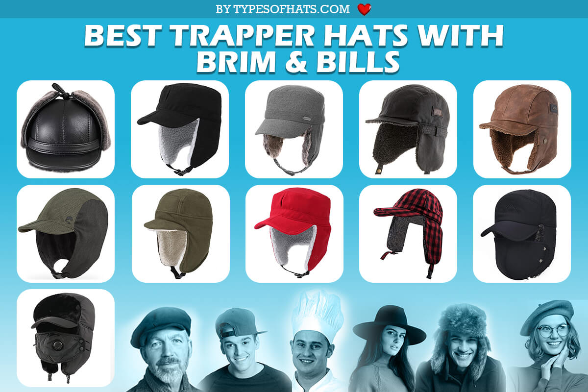 trapper hats with brim and bills