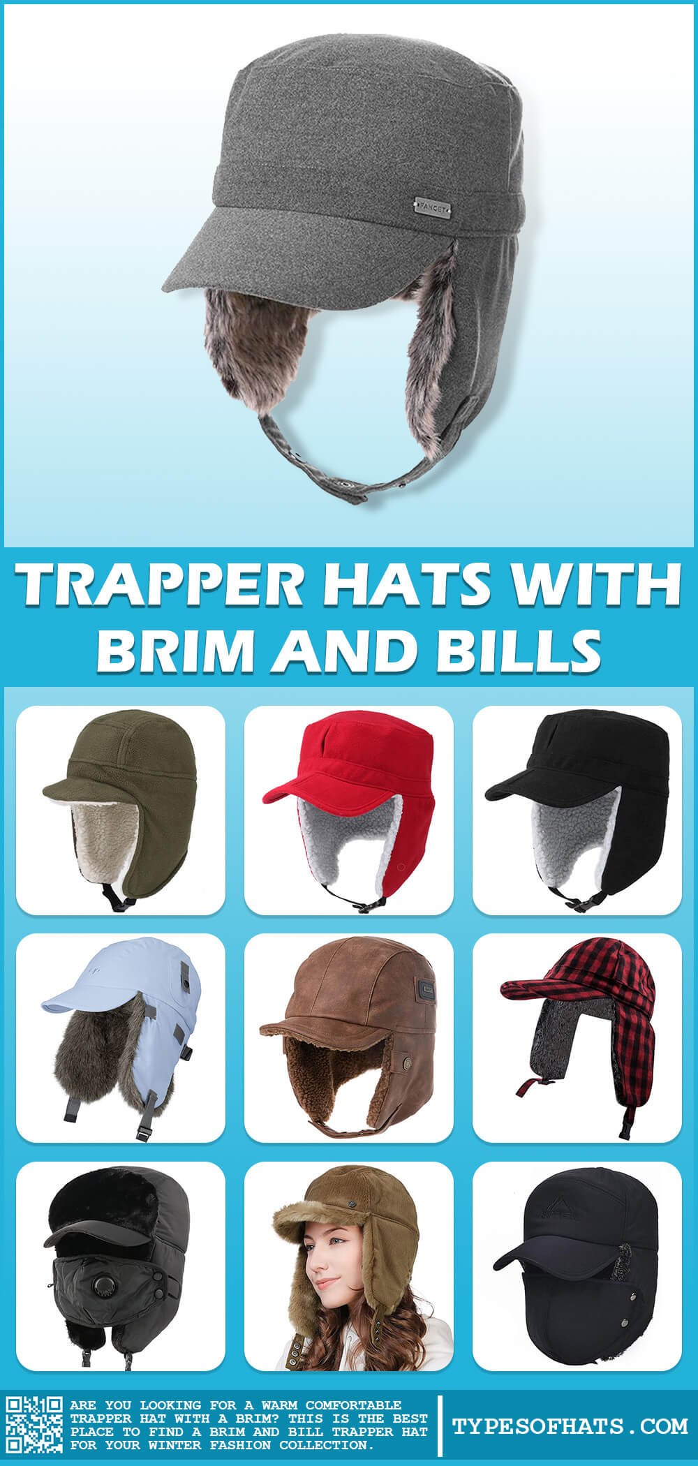 trapper hats with brims